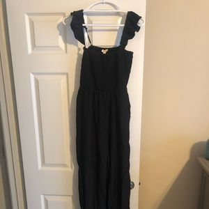 Black Ruffle Strap Smocked Waist Jumpsuit Size L